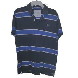 Aeropostale Blue White Stripe Polo Rugby Top L